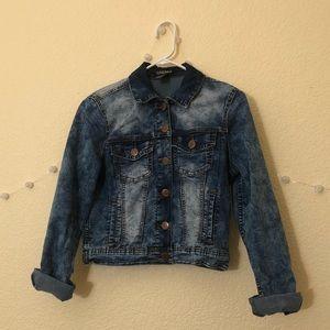 Distressed Faux Denim Jacket